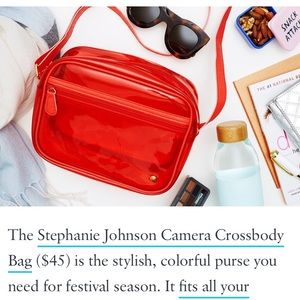 New Stephanie Johnson clear red crossbody bag
